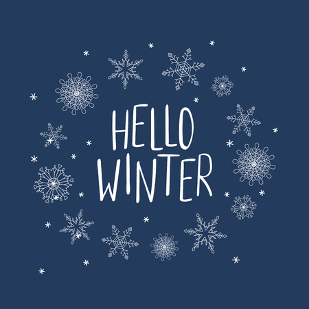 Hand drawn vector illustration of a frame of snowflakes with written text Hello Winter. Isolated objects, white on blue background. Design concept for change of seasons.