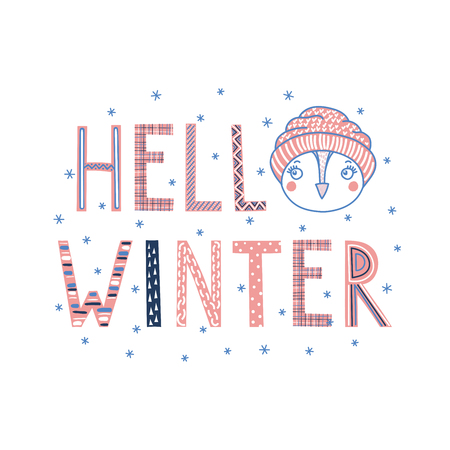 Hand drawn typographic poster with text Hello winter, snowflakes, cute funny owl face in a knitted hat. Isolated objects on white background. Vector illustration Design concept for children, cold. Banco de Imagens - 90167175
