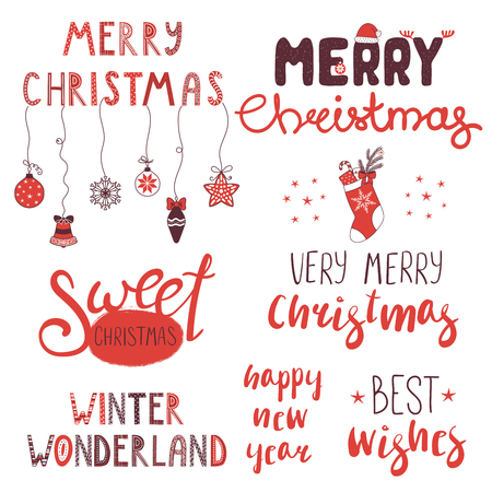 Collection of different winter, Christmas, New Year quotes, typographic elements, with hand drawn decorations. Isolated objects on white background. Vector illustration. Design concept winter holidays