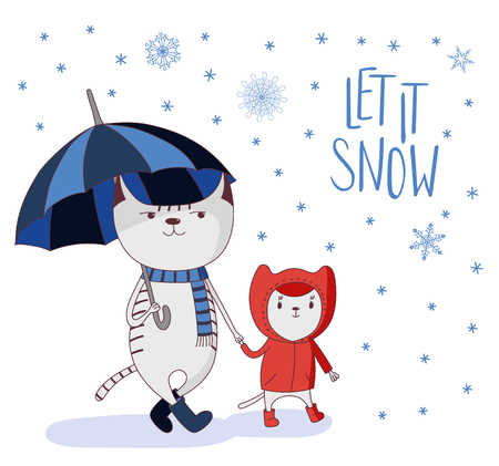 Hand drawn vector illustration of cute cats in boots, big holding umbrella, little in coat, under falling snow, text Let it Snow. Isolated objects on white background. Design concept for kids, winter.