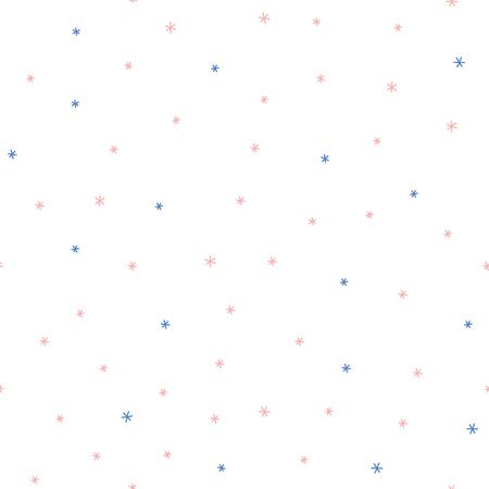 Disegnato a mano semplice modello vettoriale senza soluzione di continuità con fiocchi di neve su uno sfondo bianco. Concetto di design per Natale, inverno, stampa tessile per bambini, carta da parati, carta da imballaggio.