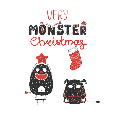 Hand drawn Christmas card with cute monsters, standing on a stool, holding a star, tangled in garland. Isolated objects on white background. Design concept kids, winter holidays. Vector illustration.