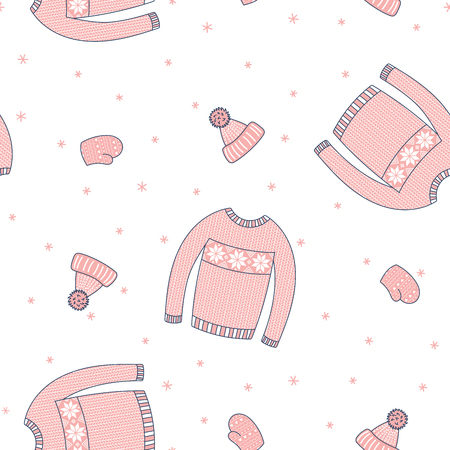 Hand drawn seamless vector pattern with warm pink mittens, sweater, knitted hat, on a white background with snowflakes. Design concept for Christmas, winter, kids print, wallpaper, wrapping paper.