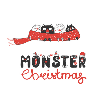 Hand drawn Christmas greeting card with cute funny little monsters, wrapped in a red muffler. Isolated objects on white background. Design concept for children, winter holidays. Vector illustration. Ilustração