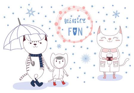 Hand drawn vector illustration of cute cats in boots, coats, with umbrella, paper cup, under falling snow, text Winter fun in a round frame. Isolated objects on white background. Design concept kids.