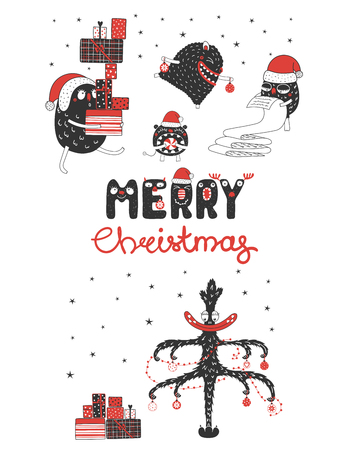 Hand drawn greeting card with cute funny monsters, reading list, carrying presents, the Christmas tree. Isolated objects on white background. Design concept kids, winter holidays. Vector illustration.