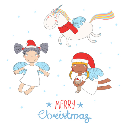 Hand drawn Christmas greeting card with cute funny angel girls, cat in Santa Claus hats, flying unicorn. Isolated objects on white background. Vector illustration. Design concept kids, winter holidays