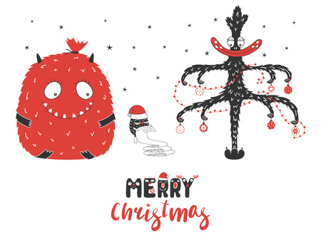 Hand drawn Christmas greeting card with cute monsters.