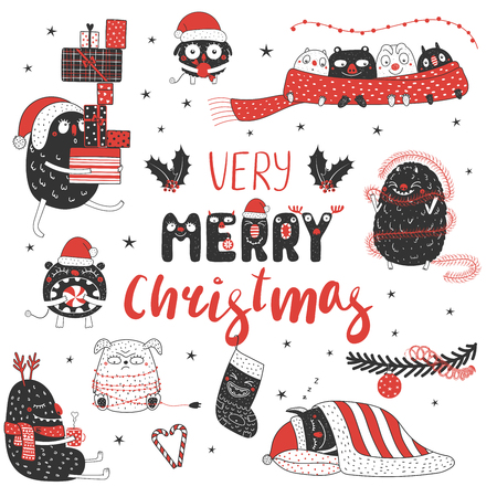 Set of hand drawn cute funny monsters in Santa hats.