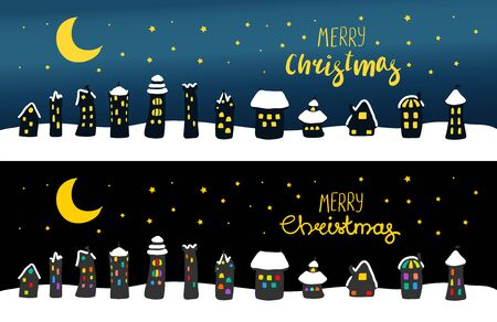 Hand drawn Christmas greeting card, banner with cute cartoon houses, covered with snow, at night, with brightly lit windows. Isolated objects. Vector illustration. Design concept kids, winter holidays Иллюстрация