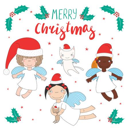손으로 그린 크리스마스 인사말 카드 귀여운 만화 천사 소녀, 고양이, 산타 클로스 모자. 흰색 배경에 고립 된 개체입니다. 벡터 일러스트 레이 션.
