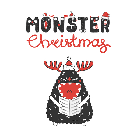 Hand drawn Christmas greeting card with a cute funny monster in Santa Claus hat, singing carols. Isolated objects on white background. Design concept for children, winter holidays. Vector illustration