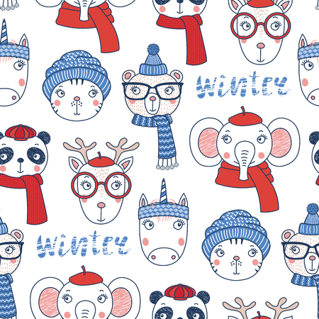 Hand drawn seamless vector pattern with cute animal faces in warm hats, mufflers, on a white background with text winter. Design concept for Christmas, winter, textile print, wallpaper, wrapping paper Illustration