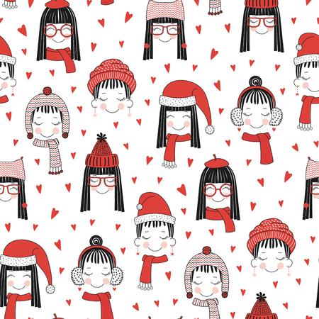 손으로 그린 완벽 한 벡터 패턴과 귀여운 소녀 얼굴에 따뜻한 모자, 빨간 마음으로 흰색 배경에 머플러. 크리스마스, 겨울, 섬유 인쇄, 벽지, 포장지 디