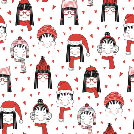 Hand drawn seamless vector pattern with cute girls faces in warm hats, mufflers, on a white background with red hearts. Design concept for Christmas, winter, textile print, wallpaper, wrapping paper. Illustration