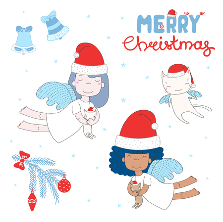 Hand drawn Christmas greeting card with cute cartoon angels vector