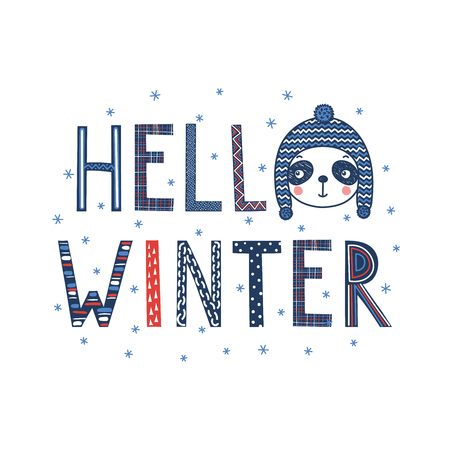 Hand drawn typographic poster with text Hello winter, snowflakes, cute funny panda face in a knitted hat. Isolated objects on white background. Vector illustration Design concept for children, cold. Ilustração