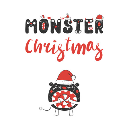 Hand drawn Christmas greeting card with a cute funny little monster with open mouth, eating candy. Isolated objects on white background. Design concept children, winter holidays. Vector illustration.