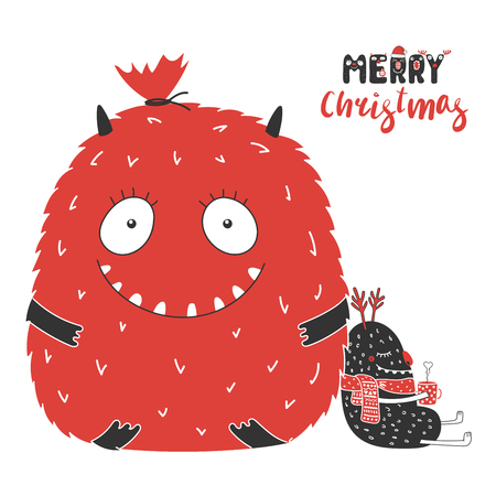 Hand drawn Christmas greeting card with cute monsters, big bag with presents, with a steaming mug. Isolated objects on white background. Design concept children, winter holidays. Vector illustration. Иллюстрация