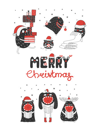 Hand drawn Christmas greeting card with cute monsters, reading list, carrying presents, singing carols. Isolated objects on white background. Design concept kids, winter holidays. Vector illustration. Stock Illustratie