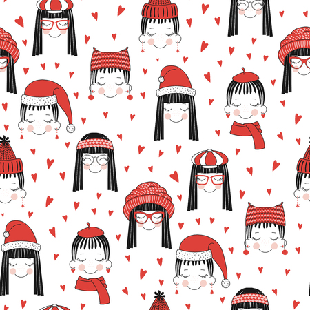 Hand drawn seamless vector pattern of cute girls with hat.