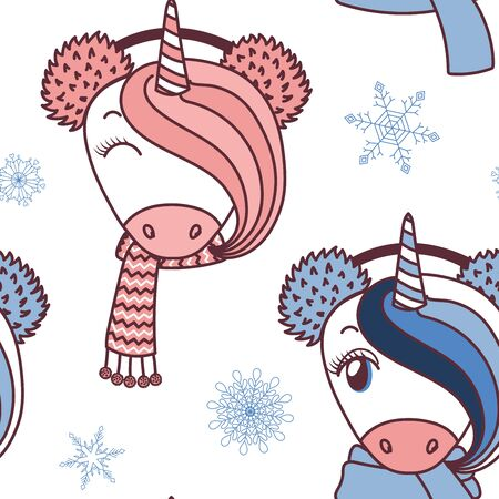 Hand drawn vector pattern of cute unicorn faces. Çizim