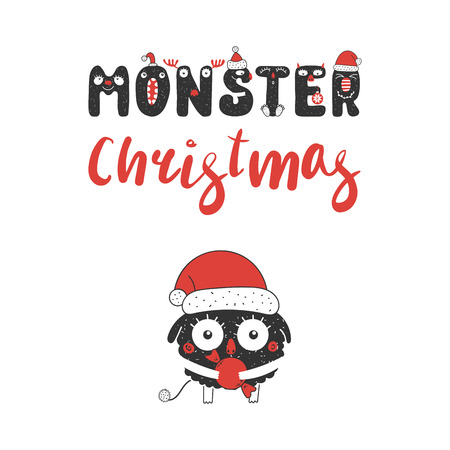 Hand drawn Christmas greeting card with a cute funny little monster in Santa Claus hat.