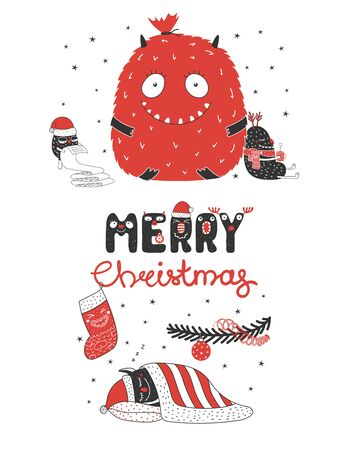 Hand drawn Christmas card design with cute monsters vector illustration.
