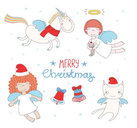 手描きクリスマス グリーティング カードかわいい面白い天使女の子とユニコーンを飛ぶ、サンタ クロースの帽子の中の猫です。白い背景の上の孤