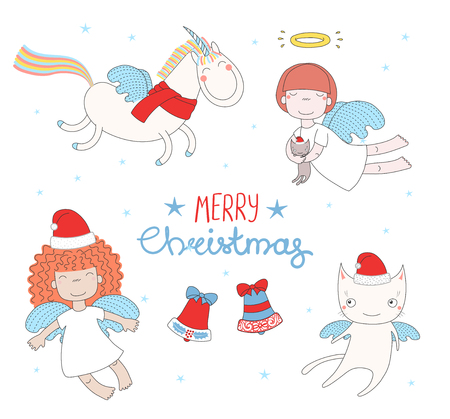 Cartolina d'auguri disegnata a mano di Natale con le ragazze sveglie divertenti di angelo, gatto in cappelli di Santa Claus, unicorno volante. Oggetti isolati su sfondo bianco. Illustrazione vettoriale Concetto di design per bambini, vacanze invernali Archivio Fotografico - 90842727
