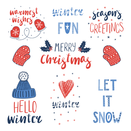 Collection of different winter, Christmas quotes, typographic elements, with hand drawn mittens, knitted hat. Isolated objects on white background. Vector illustration. Design concept winter holidays. Ilustração