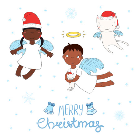 Hand drawn Christmas greeting card with cute cartoon angel girls, cat, in Santa Claus hats. Design concept for children, winter holidays.