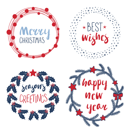 Collection of different New Year, Christmas quotes in round frames. Design concept winter holidays.