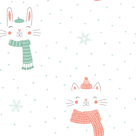 Hand drawn seamless vector pattern with cute animal faces in warm hats, mufflers, on a white background with snowflakes.