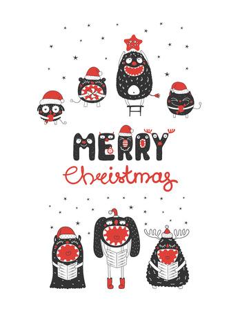 Hand drawn Christmas greeting card Illusztráció