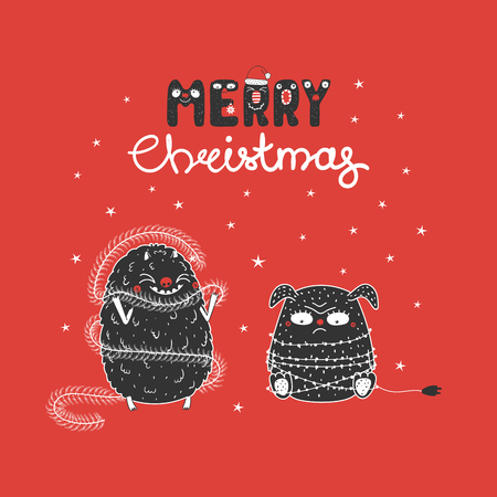 Hand drawn Christmas greeting card with cute funny monsters, tangled in garland, wrapped in tinsel. Isolated objects on white background. Design concept children, winter holidays. Vector illustration. Ilustrace