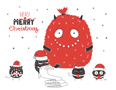 Hand drawn Christmas greeting card with cute monsters, reading a list, bag with presents, holding candy. Isolated objects on white background. Design concept kids, winter holidays. Vector illustration 向量圖像