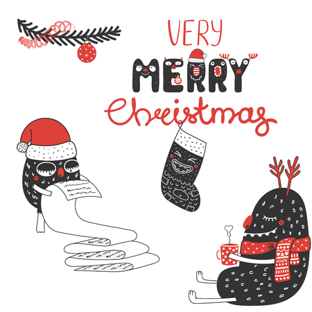 Hand drawn Christmas greeting card with cute monsters in Santa Claus hats, reading a list, with a mug. Isolated objects on white background. Design concept kids, winter holidays. Vector illustration.
