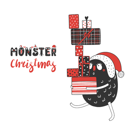 Hand drawn Christmas greeting card with a cute funny monster in Santa hat carrying a lot of presents. Isolated objects on white background. Design concept kids, winter holidays. Vector illustration.