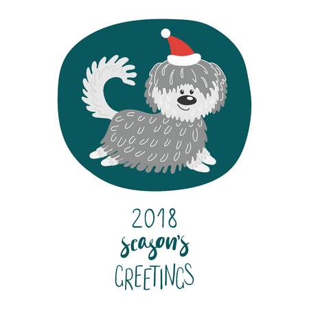 Hand drawn winter holidays greeting card with cute funny cartoon dog in a hat, typography. Isolated objects on white background. Vector illustration. Design concept for children, Christmas, New Year. Illustration
