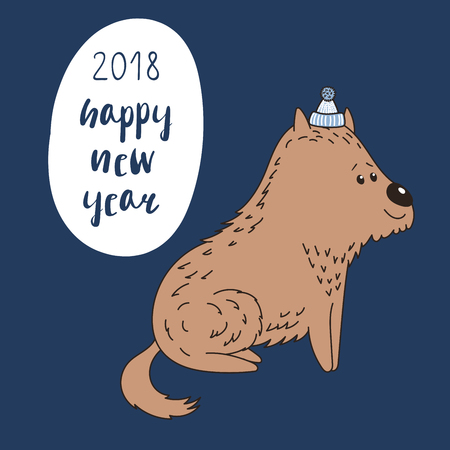 Hand drawn New Year greeting card with cute funny cartoon dog in a hat, typography. Isolated objects on blue background. Vector illustration. Design concept for children, winter holidays.