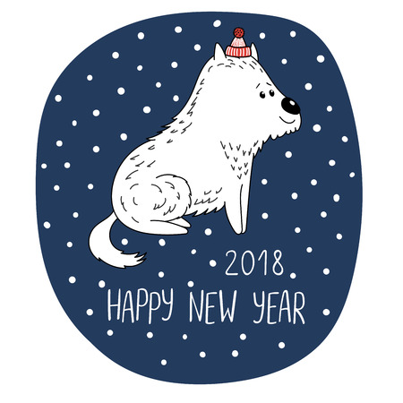 Hand drawn New Year greeting card with cute funny cartoon dog in a hat, typography. Isolated objects on white background. Vector illustration. Design concept for children, winter holidays.