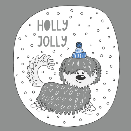 Hand drawn Christmas greeting card with cute funny cartoon dog in a hat, typography. Isolated objects on white background. Vector illustration. Design concept for children, winter holidays. Illustration