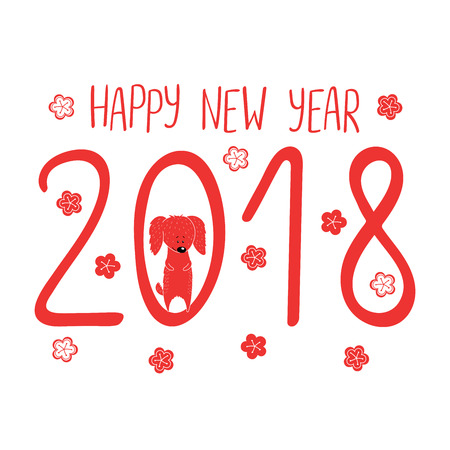 Hand drawn New Year greeting card with cute funny cartoon dog, typography. Isolated objects on white background. Vector illustration. Design concept for children, winter holidays. Illustration