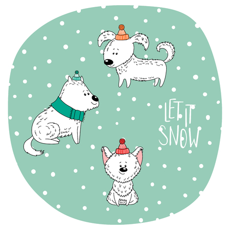 Hand drawn winter holidays greeting card with cute funny cartoon dogs in hats, typography. Isolated objects on white background. Vector illustration. Design concept for children, Christmas, New Year. - Let it snow