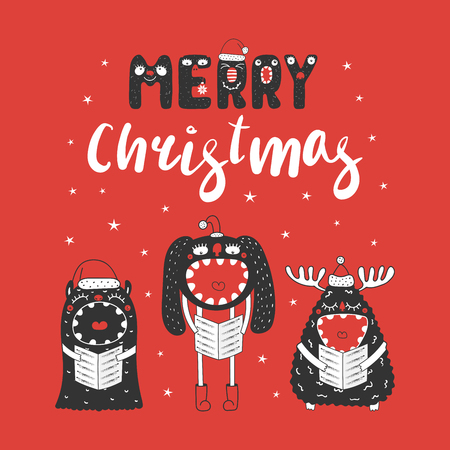 Hand drawn Christmas greeting card with cute funny monsters in Santa Claus hats, singing carols. Isolated objects on white background. Design concept for children, winter holidays. Vector illustration