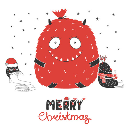 Hand drawn Christmas greeting card with cute monsters, reading a list, bag with presents, with a mug. Isolated objects on white background. Design concept kids, winter holidays. Vector illustration. 向量圖像