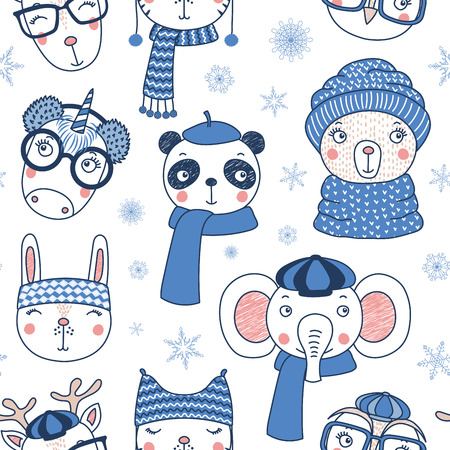 Hand drawn seamless vector pattern with cute animal faces in warm hats, mufflers, on a white background with snowflakes. Design concept for Christmas, winter, textile print, wallpaper, wrapping paper. Illustration