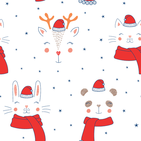 Hand drawn seamless vector pattern with cute animal faces in Santa hats, mufflers, on a white background with stars. Design concept for Christmas, winter, textile print, wallpaper, wrapping paper.