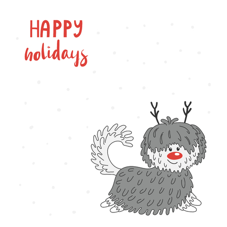 Hand drawn Christmas greeting card with cute funny cartoon dog with deer antlers, red nose, typography. Isolated objects on white background. Vector illustration. Design concept kids, winter holidays.